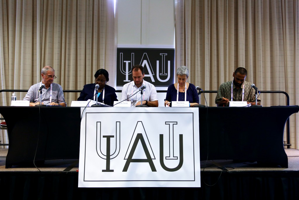 The International Astronomical Union's (IAU) Office of Astronomy for Development (OAD) has established new coordinating offices in Armenia, Colombia, Jordan, Nigeria and Portugal. Supporting the use of astronomy as a tool for development in specific regions and languages, the new partnerships form part of the IAU's decadal strategic plan — which aims to realise the societal benefits of astronomy. The final signatures were received during a media event on Thursday 13 August 2015. In this picture, from left to right, are Piero Benvenuti (IAU General Secretary), Jemima Ngozi Ogwo (Abia State University, Uturu), Ezequiel Treister (Sociedad Chilena de Astronomía), Rosa Doran (Núcleo Interactivo de Astronomia Executive Council) and Kevin Govender (IAU Office of Astronomy for Development). credits: IAU/F. Char
