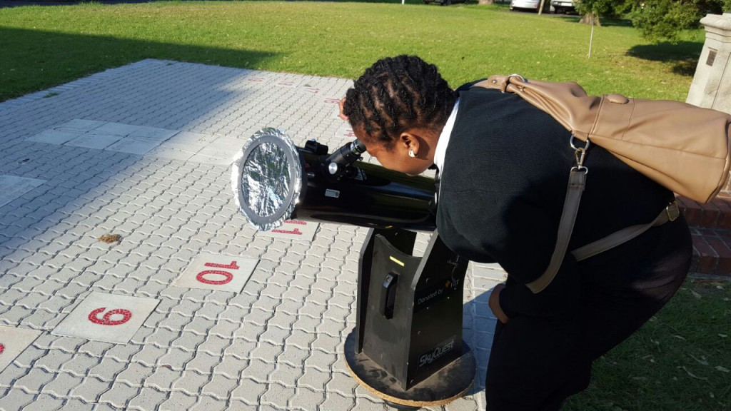 Karabo observing the 2016 transit of Mercury at SAAO, Cape Town