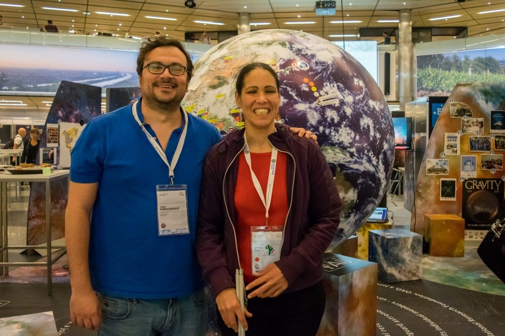 Jorge Rivero, IAU 100 coordinator and Wanda Diaz Merced, OAD researcher at the IAU Exhibition