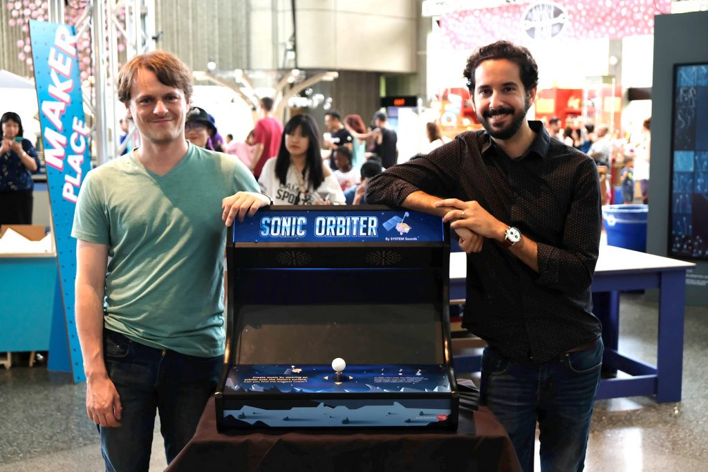 Sonic Orbiter is an arcade-style sci-art exhibit that let you create music by steering the Lunar Reconnaissance Orbiter over the surface of the Moon.